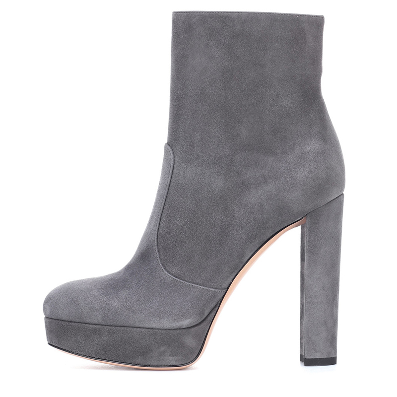forme Haute Talons Chaussures Black Rond gray Bottes Tacco Carré Alto Confortable Femmes Femme Cheville Bout Plate Stivaletti Populaire twqI4Yfxw