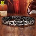 Alta Calidad de LA PU Correa de Cuero Para Las Mujeres Hebilla de Metal Rivet Tachonado Cinturones Anchos de Cintura Casual Cinturones de lujo Para Mujer Pantalones Vaqueros NP7013