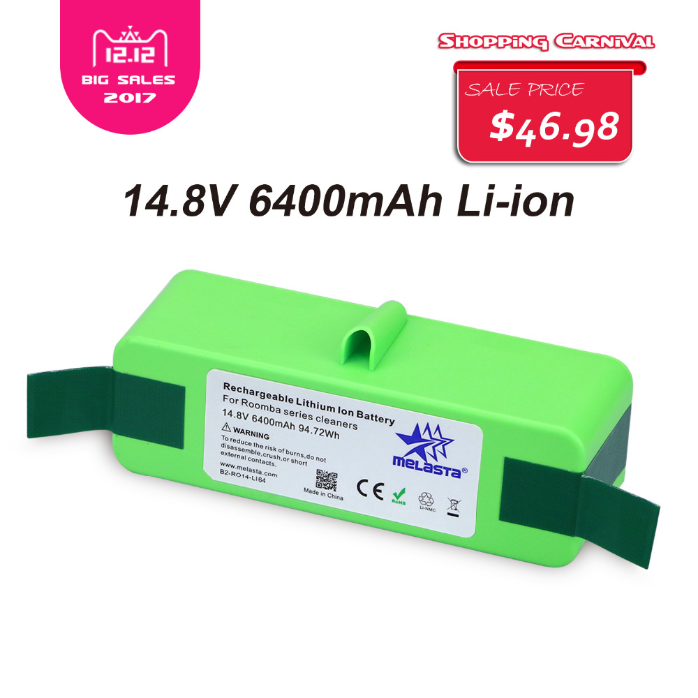 6 4Ah 14 8V Li ion Battery with Brand Cells for iRobot Roomba 500 600 700