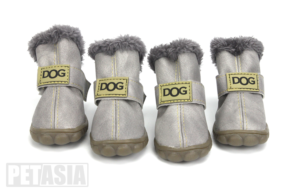PETASIA Pet Dog Shoes Winter 4pcs set Small Medium Dogs Boots Cotton Waterproof Anti Slip XS XL Shoes for Pet Product ChiHuaHua select_Gray