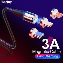 Marjay 3A szybki ładowanie magnetyczny kabel USB Micro rodzaj USB C dla iPhone przewód danych przewód magnetyczna ładowarka USB kabel do telefonu komórkowego tanie tanio Nylon LIGHTNING Typu C Micro Usb USB A Magnetyczne 2 w 1 3 w 1 Ze wskaźnikiem LED Złącze ze stopu Marjay 1m 2m Magnetic Cable LED Micro Type C Magnetic usb Cable