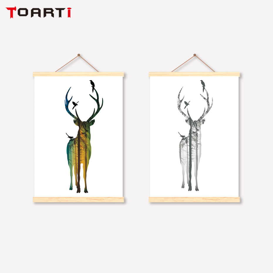 Cartoons Scroll Wall Art Animals Modern Hanger Canvas Painting For Living Room Kids Bedroom Home Decoration Deer Prints Posters in Painting Calligraphy from Home Garden