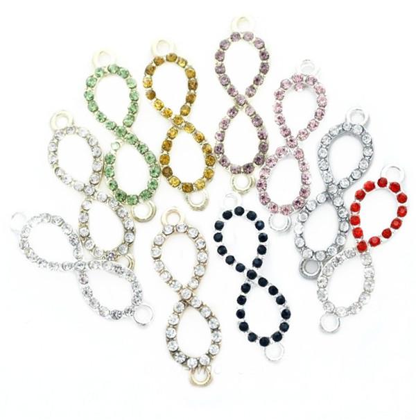 10 Pcs Crystal Rhinestone Infinity Symbol Connectors