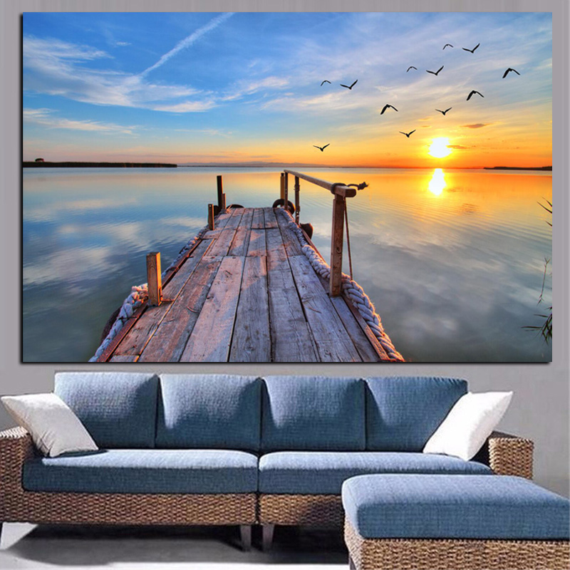 HD Print Natural Sky Sunset Seascape Bird Modern Oil Painting On Canvas Pop Art Wall Picture For Living Room Cuadros Decoration
