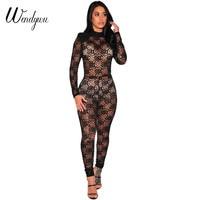 Wendywu الأعلى أزياء المرأة الجديدة كم طويل نادي الصلبة الأسود الزهور الرباط bodycon طويل حللا
