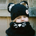 Fashion Fox Style Scarf Hat Collar Wool Blend Knitted Beanie Cap Baby Children Hat