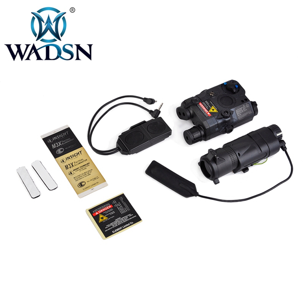 WADSN BLOCK I Accessory Kit PEQ LA-5C Red Laser &M3X TACTICAL ILLIUMINATOR LONG VERSION&DOUBLE REMOTE CONTROL EX423 Weapon Light
