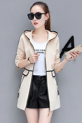 Fashion women's long coat Slim female spring and autumn spring new women's Korean version of the wild thin hooded leisure trend 29