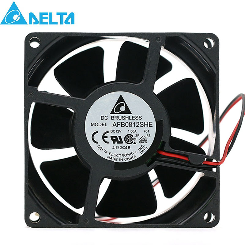 For Delta AFB0812SHE 8038 8CM 12V 1.0A 5000RPM 72.26CFM Powerful Dual Ball Cooling Fan 80*80*38mm