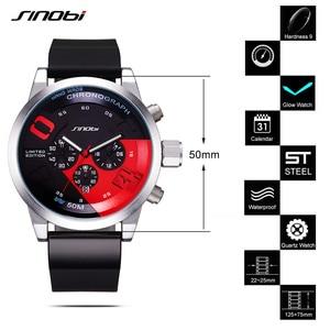 Image 5 - Mens Watches Top Luxury Brand Men Rubber Sports Watches Fast Passion SINOBI Mens Quartz Chronograph Clock  Military Wrist Watch