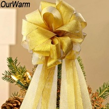 OurWarm DIY Christmas Bow on the Tree Decorative Bow Bowknot Christmas Tree Ribbon Large Christmas Ornaments New Year's Bows