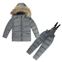 2018 Winter Set Baby Boys 1-5T Girls Ski Suit Cotton Down Snowsuit Kids Children Clothing Set long sleeve Down Jacket Jumpsuit