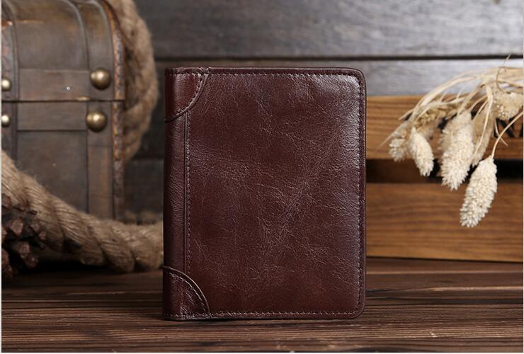 Vintage Cowhide Genuine Leather Men Wallets Coffee Cow Leather Short Male Wallet Purse for Men Card Holders High Quality #MD0213