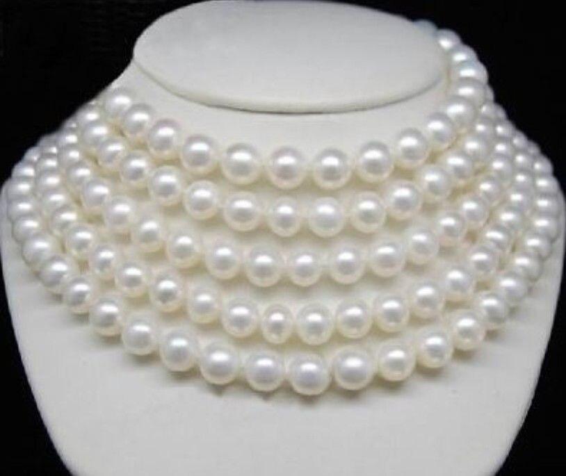 Бесплатная доставка> @> N2500 REAL 9 10 мм белый жемчужина Южных морей ожерелье 85