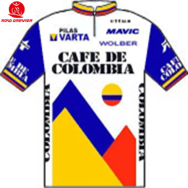 81bb52ecd Tour de France 1986 Cafe de Colombia Pro Team Retro style cycling jersey  summer Short sleeved clothes Bicycle sweater clothing