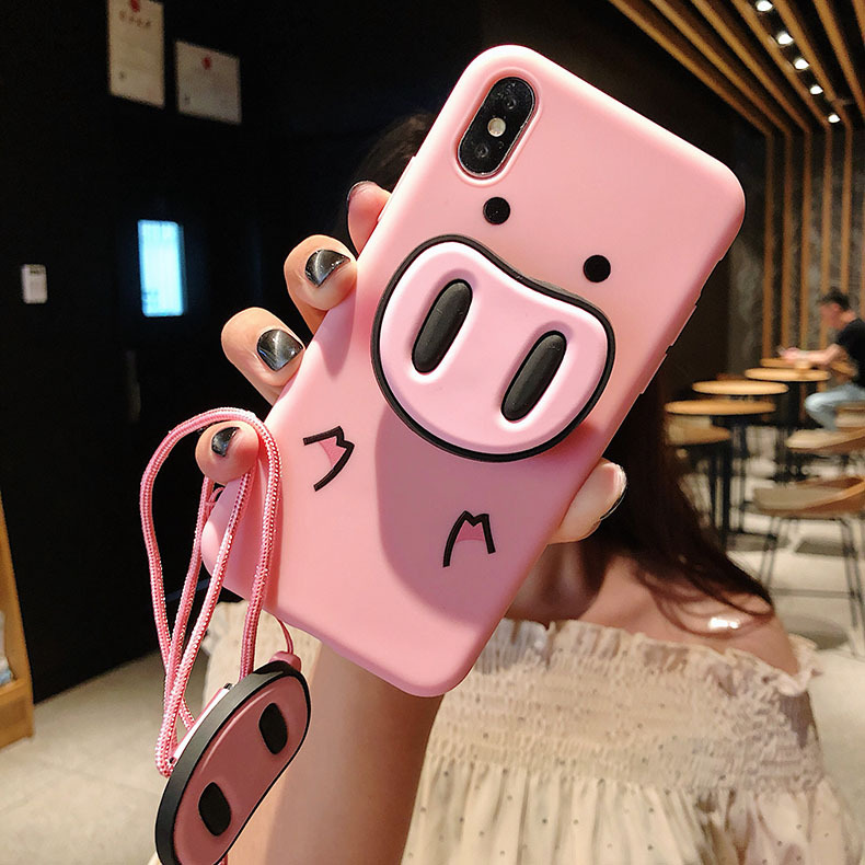 50pcs Cute Pink Case For iPhone X 7 Plus XS Case Silicone Stand Holder Cover For