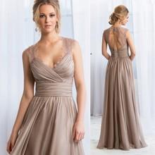 Hot Sell Brown Long Prom Dresses Lace Backless Evening Gowns 2015 Vestido de Festa Longo E6162