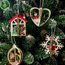Christmas Decorations Creative Painted Wooden Hanging Ornaments Christmas Tree Pendant Hol