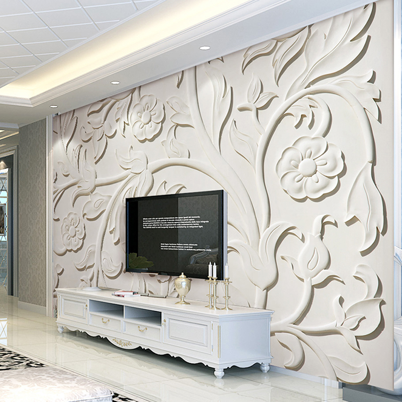 Custom 3D Photo Wallpaper Stereoscopic Relief Flower Leaf Pattern Murals European Style Living Room TV Backdrop Wall Painting