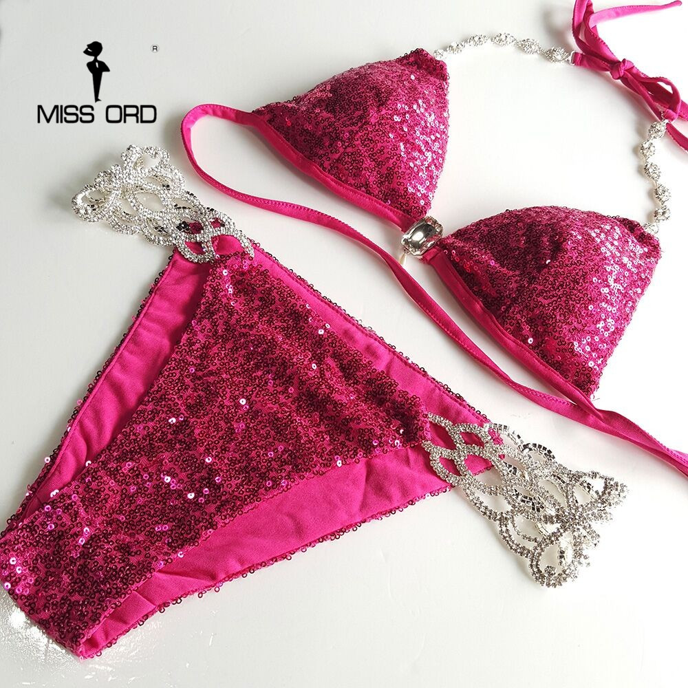 Free Shipping Missord 2017 Sexy V neck halter Metal chain red color sequin FT6700 1