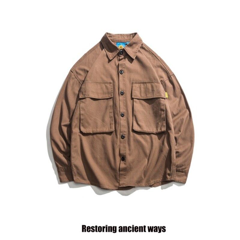 Hommes Japonais de Harajuku Occasionnel Rue Grande Poche Bouton Régulier Chemise Nouveau Rétro Outillage Hommes de Coton À Manches Longues T-shirt DS50330