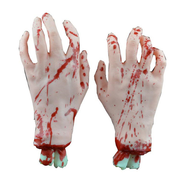2 pc halloween horror props bloody big size right hand haunted house party decor professional factory