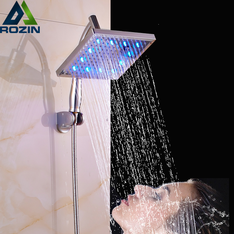 8 inch led Color Changing Shower Head Bathroom Shower Sprayers Top Rainfall Head Chrome Plastic Handheld Shower Arm 150cm Hose матрас dimax ок базис хард d210
