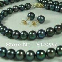 Envío libre 7-8mm negro cultivadas de agua dulce perla redonda diy natural collares pulseras pendientes set 18 pulgadas MY4573
