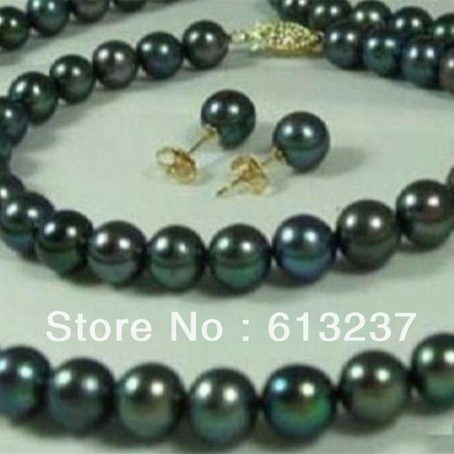O envio gratuito de 7-8mm cultivadas de água doce pérola redonda preta luz diy natural colares pulseiras brincos set 18 polegada MY4573