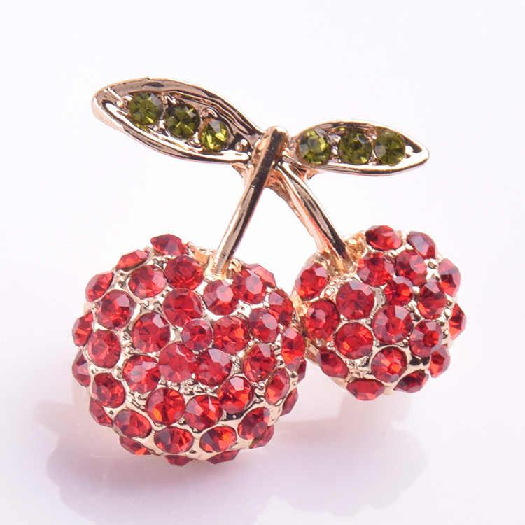 Модные Листья красная вишня фрукты булавки и броши для женщин костюм платье брошь из страз брошь ребенок ювелирные изделия дропшиппинг X281