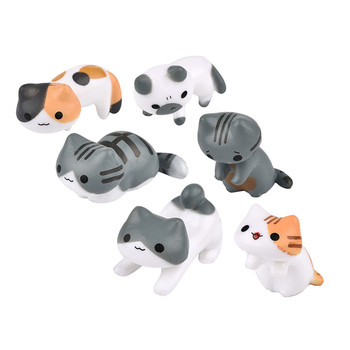 Fantasy Cartoon Cute 6pcs/ set Cat Fairy Garden Decoration Crafts Home Decor Fashion Micro Landscape Miniature Figurines