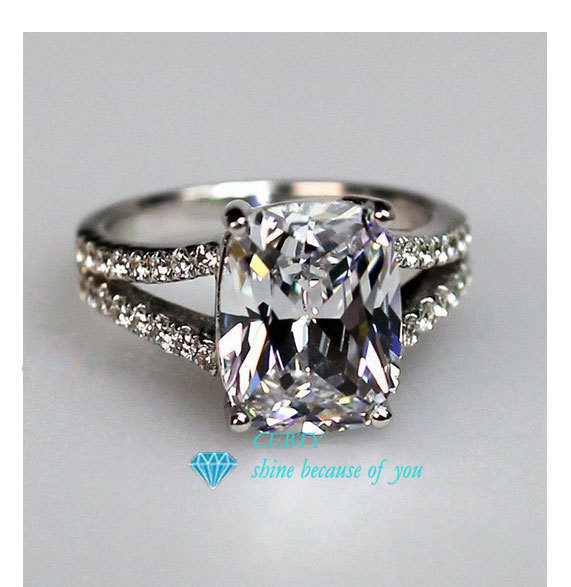 Stamped Pt950 CEBTY Brand 2 Carat Cushion Cut Synthetic