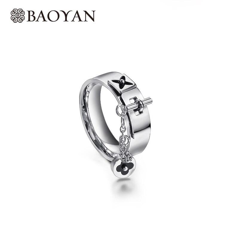 Baoyan модные золотые/серебряные цветок клевера очаровательные кольца Готическая цепь замок палец кольца из нержавеющей стали Свадебные кольца для мужчин и женщин