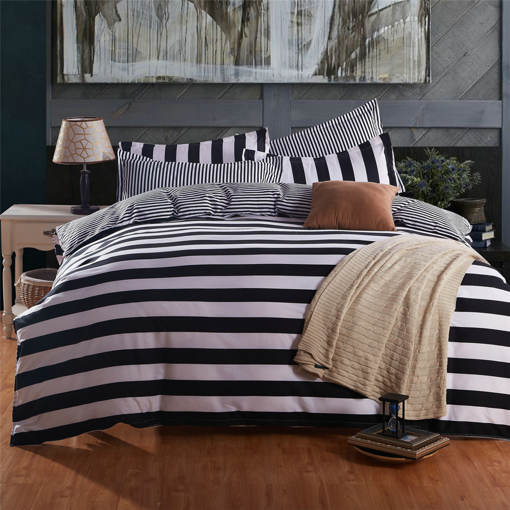 Black and white striped bed sheets - Simple Design Kids Adult Bedclothes White Black Stripes Duvet Quilt Cover Bed Sheet Pillowcase Double