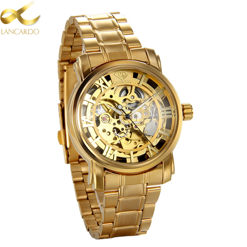 Lancardo Automatic Mechanical Watches Men Brand Luxury Gold Stainless Steel Simple Business Transparent Watch Relogios Masculino skone luxury date silver gold steel band automatic mechanical watches men diamond roman hours business watch relogios masculino