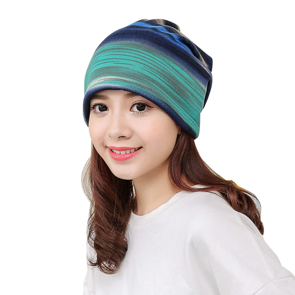 2018 Fashion Winter Women Warm Striped Hat Ruffle Cancer Hat Beanie Scarf Collar Turban Head Wrap Cap Bonnet Beanies Winter Hat# New Varieties Are Introduced One After Another