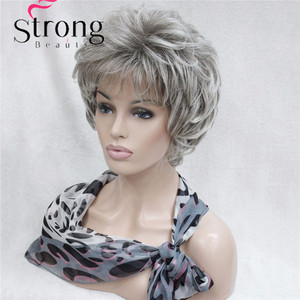 Image 5 - StrongBeauty Kısa Katmanlı Gümüş gri Ombre Tam Sentetik Peruk kadın Peruk RENK SEÇENEKLERI