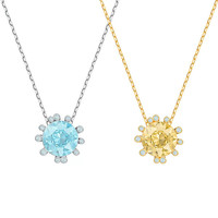 Women Silver Necklace Swa 1:1 Sunflower New Flower Clavicle Chain Jewelry Friendship Pendant Gift Blue Yellow