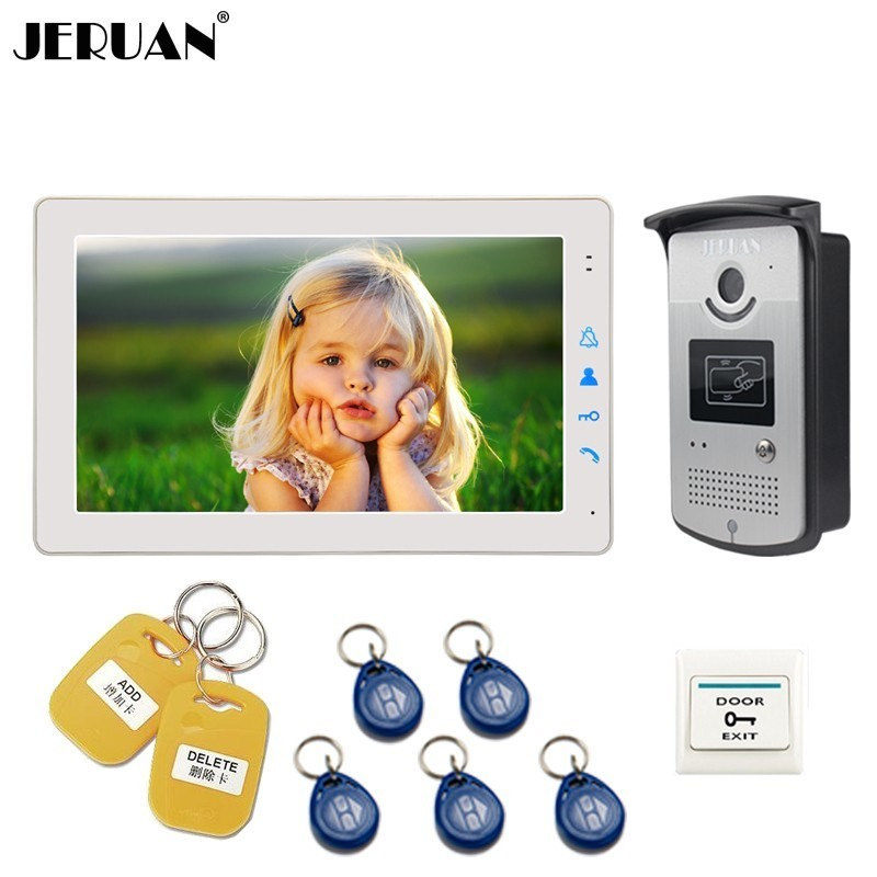 JERUAN 9 inch Video Door phone Doorbell Intercom System kit White/Black Monitor Access RFID Waterproof Camera FREE SHIPPINGJERUAN 9 inch Video Door phone Doorbell Intercom System kit White/Black Monitor Access RFID Waterproof Camera FREE SHIPPING