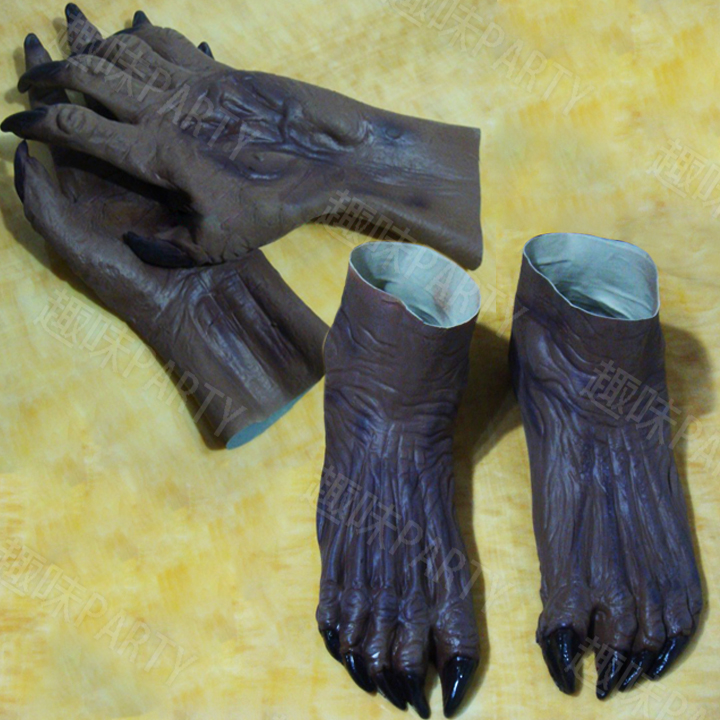 Ny terrorzombie Ghost Gloves Booties Halloween set djävulen cos cosplay karneval maskerad latex hood Handskar
