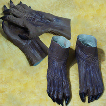 New Free shipping terror zombie Ghost Gloves  Booties Halloween set devil cos cosplay carnival masquerade latex hood