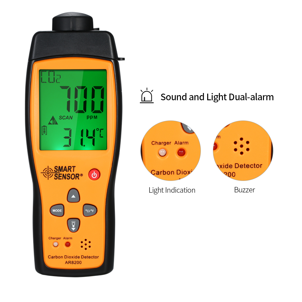 AR8200 Professional Handheld Carbon Dioxide CO2 Gas Detector Tester