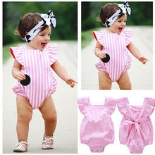 Striped Infant Baby Girls Bodysuit Toddler Girl Cute Pink Jumpsuit Outfits Summer Sunsuit 0-18M