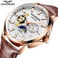 Часы GUANQIN 2018 мужские  светящиеся часы  автоматические водонепроницаемые  механические  кожа  розовое золото  Скелетон  деловые часы