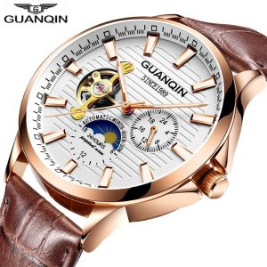 GUANQIN 2018 watch men Luminous clock men Automatic waterproof Mechanical leather rose gold skeleton business relogio masculino