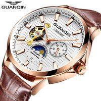 GUANQIN 2018 zegarek mężczyźni świecący zegar mężczyźni automatyczny wodoodporny mechaniczny skórzany różany złoty szkieletowy biznes relogio masculino w Zegarki mechaniczne od Zegarki na