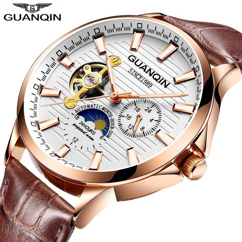 Guanqin 2018 relógio masculino relógio de pulso automático à prova dwaterproof água mecânica couro rosa ouro esqueleto negócios relogio masculino