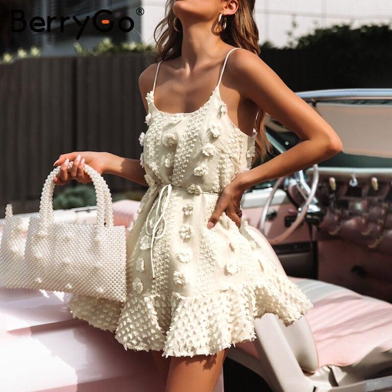 BerryGo Elegant spaghetti strap short dresses party Casual summer sundress ladies dresses 2019 Flower embroidery dress vestidos белая рубашка с объемными рукавами и вырезом