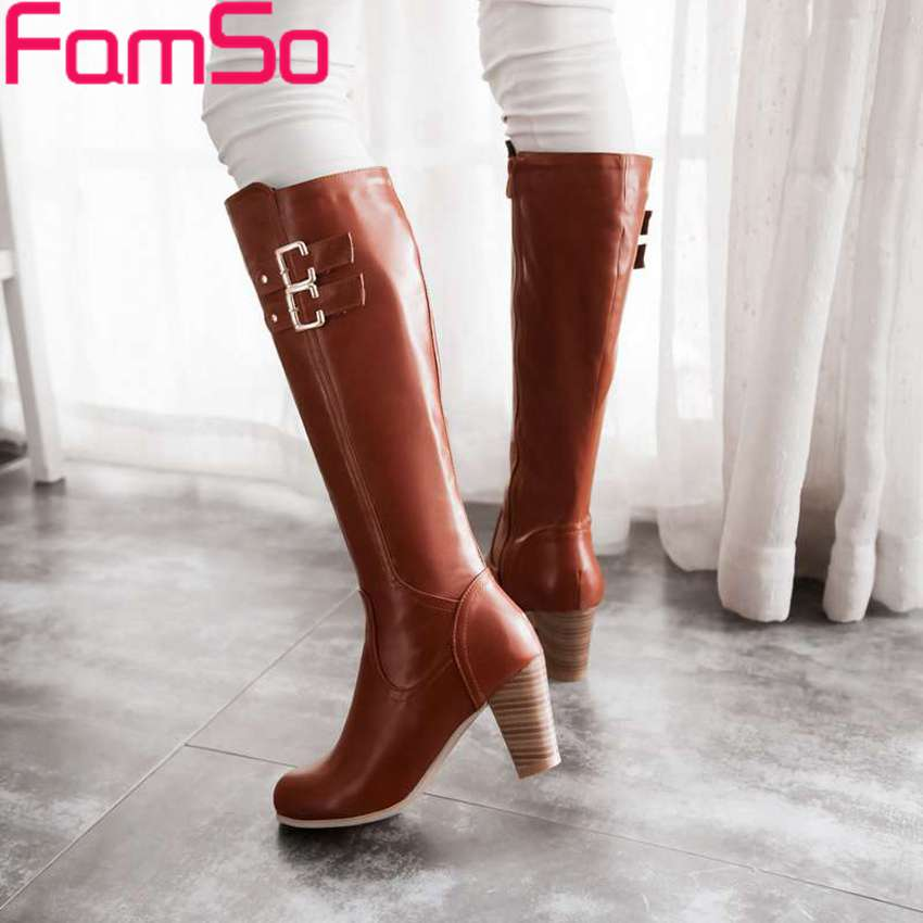 Plus Size34 43 2016 new Sexy font b Women b font Boots Buckle Shoes Long Autumn