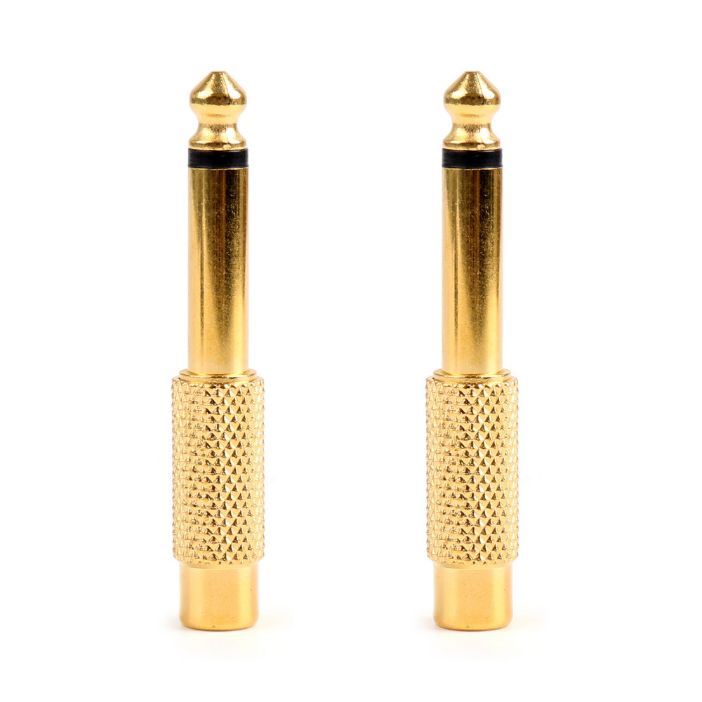 Areyourshop Connector Gold Plated RCA Female to 6.35mm 1/4 Mono Male Audio Adapter Plug Jack Connector 20pcs High Quality areyourshop rca female to 2rca female adapter for audio video y splitter plug converter 100pcs black new arrival